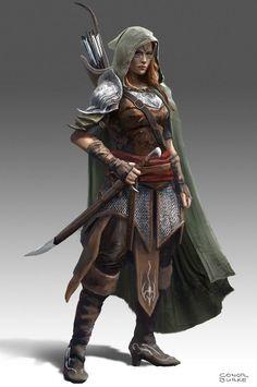 probably Dungannon (Redstone Castle) (w/influence of Ylaruam, considering slightly curved cimetar-like sword)