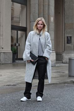 GANNI     oversized coat (similar here & here) ZARA      black pants COS      cashmere jumper  EVERIE CPH     pony hair bag ADIDAS     stan smith
