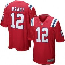 Men's Red NIKE Game    New England Patriots #12 Tom Brady Throwback   NFL Jersey