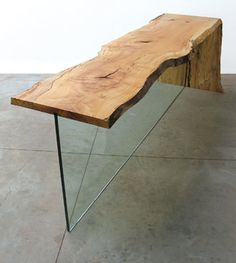 A Maple Console Table With A Waterfall Maple Leg And Glass Leg. Notice A  Bit Of Yellow To The Maple, Which Is Basically Unavoidable Without  Bleaching, ...