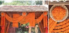 Magic with marigold   DIY decor ideas for the wedding house   using gainda on a budget   Floral toran with marigold   Curated By Witty Vows
