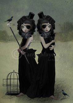 Gothic Art Print - Goth Girls - A Difference Of Opinion  I LOVE this. Had to purchase it!