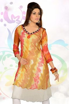 stylish, fancy, superb latest designer shaded yellow & white color dhabu dot printed fancy kurti which is perfect to give a girl cool & sweet look.