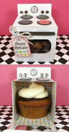 Great Gift Idea! Happy birthday, oven box Cupcake in small oven ♥