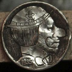 "DAVID ""COALBURN"" RAYMOND HOBO NICKEL - FLOWER HAT CLOWN* - 1935 BUFFALO PROFILE Hobo Nickel, Flower Hats, Coins, Skull, Carving, Personalized Items, Buffalo, David, Profile"