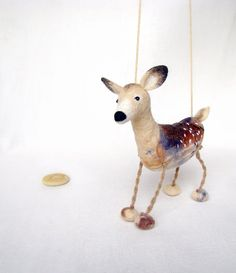 Hanna  - White Tailed Female Deer, Art Puppet Marionette Stuffed Animal Felted Toy. beige neutral cream brown.  MADE TO ORDER. $64.00, via Etsy.