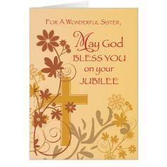 Jubilee Anniversary Nun Cross, Swirls, Flowers & L Card