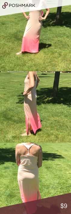 "Xhilaration Maxi Dress Xhilaration maxi dress. Great beach cover. This dress has peach colors, pinkish peach near bottom. Slits on both sides 16"" from bottom. 60% cotton, 40% polyester, machine wash cold. NWT and 47"" from arm pit to floor. Xhilaration Dresses Maxi"