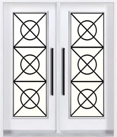 Double entry door with wrought iron decorative glass inserts - Decor, Wrought Iron Doors, Home Security, Glass Decor, Double Entry Doors, Front Door, Doors, Iron, Wrought Iron Door Inserts