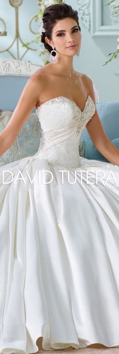 The David Tutera for Mon Cheri Spring 2016 Wedding Gown Collection - Style No. 116200 Heloise #satinweddingdresses