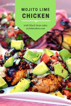 Mojito lime chicken with black bean salsa using fresh local ingredients including garden grown veggies and Foster Farms simply raised chicken. NewComfortFood ad