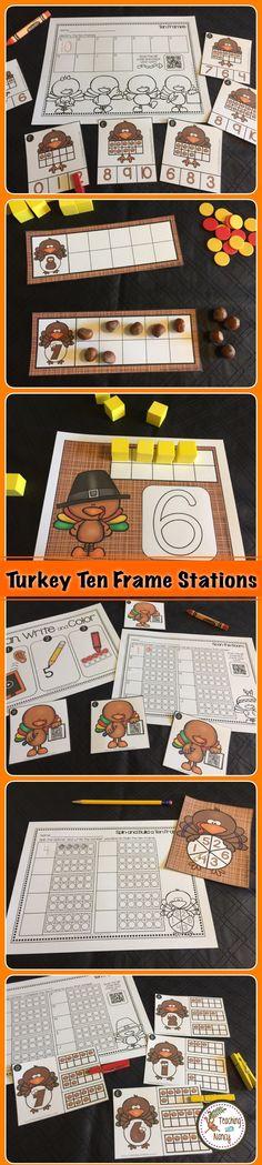 Turkey Ten Frames Kindergarten Math Stations