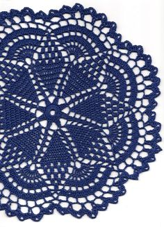 Crochet doily lace doily table decoration crocheted place mat doily tablecloth table runner napkin navy blue (7.00 GBP) by DoilyWorld
