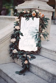vintage old fashioned wedding mirror welcome sign with floral garland decoration Mod Wedding, Floral Wedding, Wedding Flowers, Wedding Rustic, Garden Wedding, Dream Wedding, Flower Decorations, Wedding Decorations, Garland Decoration