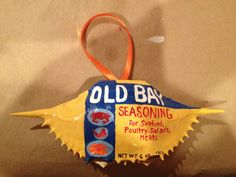 Old Bay Art Inspiration: Hand Painted Old Bay Crab Shell  by ACustomCreation on Etsy, $15.00