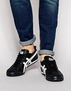 onitsuka tiger mexico 66 slip on black and white letra italiana