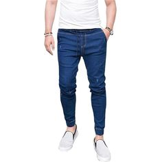 LASPERAL 2019 New Summer Spring Long Pencil Pants Casual Slim Jeans Mens Brands Slim Trousers Elastic Waist Male Pantalones. Product ID: Casual Jeans, Jeans Style, Men Casual, Slim Fit Joggers, Slim Fit Trousers, Ripped Denim, Denim Jeans, Skinny Jeans, Harem Jeans