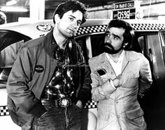 """Robert De Niro and Martin Scorcese on the set of """"Taxi Driver"""" 1976.  When the actor cast as the taxi fare fantasizing about violently murdering his wife failed to show up, director Scorsese played the part--brilliantly."""