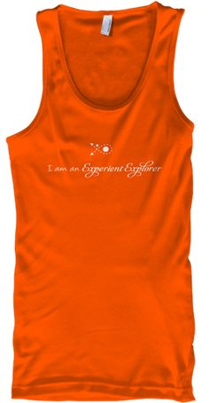 Im an #Experientexplorer Orange tank top front design.