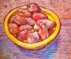 Vincent van Gogh. Still Life: Potaoes in a Yellow Dish. Arles. March 1888. Oil on canvas, 39x47cm. Otterlo, Kröller-Müller Museum