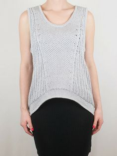 Helmut Lang Gray Open Mesh Tank from Cicada For Her