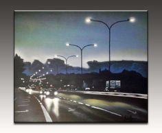 Highway at night painting