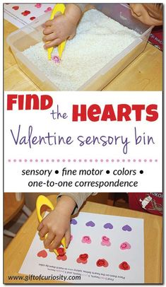 """This """"Find the Hearts"""" simple Valentine sensory bin works on sensory, fine motor, color knowledge, and one-to-one correspondence   #sensoryplay #hearts #Valentine #ValentinesDay #giftofcuriosity    Gift of Curiosity"""