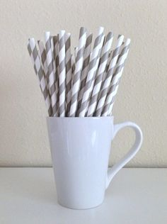 25 Paper Straws - Light Gray / Grey / Silver and White Striped Party Straws and DIY Printable Drink Flags / Wedding / Birthday / Shower