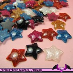 6 pc Domed GLITTER STARS Decoden Resin Flatback Cabochon 20mm
