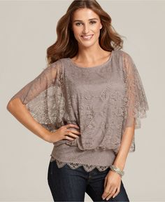 Style Top, Flutter Sleeve Lace Scoop Neck $50