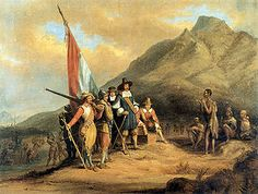 A romanticized depiction of the arrival of Jan van Riebeeck in Table Bay Cape Town South Africa. A Dutch East India Company expedition of 90 Calvinist settlers, under the command of Jan van Riebeeck, founded the first permanent settlement near the Cape of Good Hope in 1652. They arrived in the harbour of modern-day Cape Town on 6 April 1652 with five ships: Reijer, Goede Hoop, Dromedaris. with the Walvisch and Oliphant arriving later.