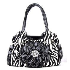 Handbags, Bling & More! Black Zebra Print Flower Rhinestone Fashion Purse : Fashion Purses