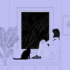 Female Cat and Black and White Illustration Describing Loneliness - Aesthetic Movies, Aesthetic Anime, Aesthetic Art, Art Mural 3d, 3d Wall Art, Art Anime Fille, Anime Art Girl, Fantasy Kunst, Fantasy Art