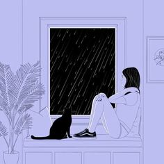 Female Cat and Black and White Illustration Describing Loneliness - Aesthetic Movies, Aesthetic Anime, Aesthetic Art, Art Mural 3d, 3d Wall Art, Art Anime Fille, Anime Art Girl, Pixel Art, Animated Love Images