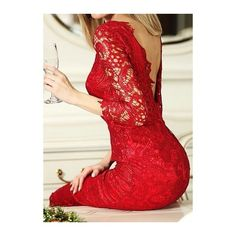 Rotita Red Lace V Back Knee Length Dress (€22) ❤ liked on Polyvore featuring dresses, red, three quarter sleeve dresses cocktail dress, lace sheath dress, sheath dress, knee-length dresses and knee length cocktail dresses