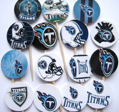 15 Titans Football Party Picks Cupcake by ThePrettyPaperShop, $4.99