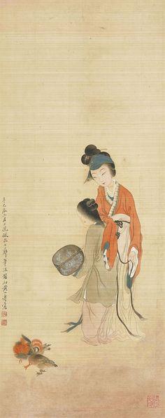 HUANG SHANSHOU (1855-1919) - LADY HOLDING FAN.