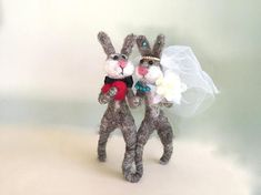 Rabbit wedding cake topper funny animals rabbit Bunny cake