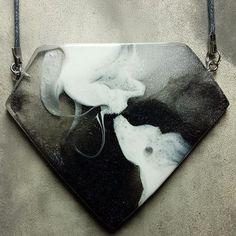 Black Diamond necklace Pendant handmade from resin