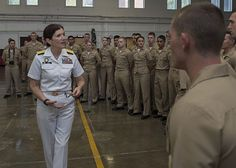 Rear Adm. Peg Klein, senior advisor to the Secretary of Defense for military professionalism, speaks with University of Oklahoma Naval NROTC midshipmen during Oklahoma City Navy Week.