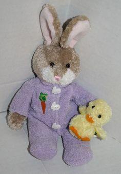 "Plushland Bunny rabbit brown Plush Purple chick duck Easter carrot Cherish 8"" #Plushland #Easter"