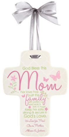 """Personal Creations Personalized """"God Bless This Mom"""" Ceramic Cross"""