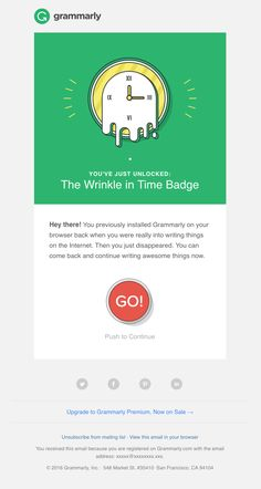 Grammarly sent this email with the subject line: You've Earned a New Badge! - Read about this email and find more retention emails at ReallyGoodEmails.com #automated #retention #winback