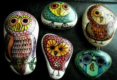 Painted stones- Life's a Hoot series by Michele DeWinter