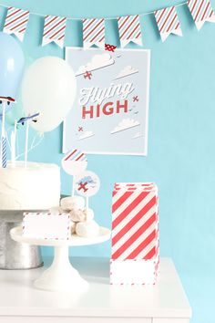 Flying High Airplane Party: FREE PRINTABLE paper airplane invite, garland, food labels, poster, treat cups and HOW TO bake this cake too! RETRO, AIRPLANE, CARDS, PARTY, BOY, GIRL, OFFICE, BIRTHDAY, AIR SHOW PARTY.....so much more too!
