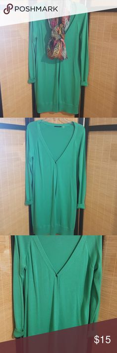 Cute cardigan Beautiful long  green  cardigan,1button closure,gently used ,long sleeve can style this many ways No trades.Offers or Bundle only Elie Tahari Sweaters Cardigans