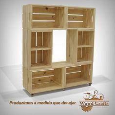 Rack com 6 Caixotes e Rodízios de Gel - Wood Crafts - Wood Crates, Wood Pallets, Decoration Palette, Diy Home Decor, Room Decor, Diy Casa, Crate Furniture, Home Projects, Shelving