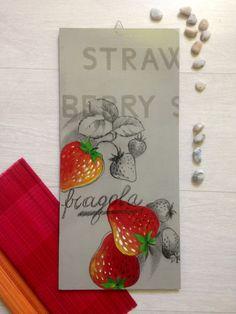 Fragole dipinte per cucina/ Frutta dipinta per la cucina/ Dipinto cucina con la frutta/ Dipinto moderno con frutta/ Fragole dipinte su legno