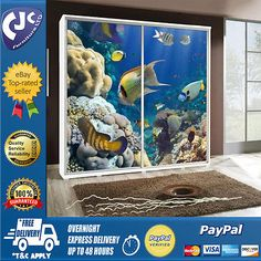 Bedroom furniture 2 door #sliding #wardrobe with photo white frame #aquarium,  View more on the LINK: http://www.zeppy.io/product/gb/2/262168452344/