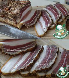 Грудинка сухого посола подкопченная - кулинарный рецепт